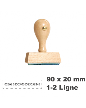 Tampon en Bois W9 - 90x20mm, 1-2 Lignes